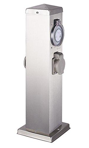 Hilight 103202 Steckdosensäule mit Timer und 2-Fach Steckdosen Edelstahl Garten Strom Verteiler Veranda Harms