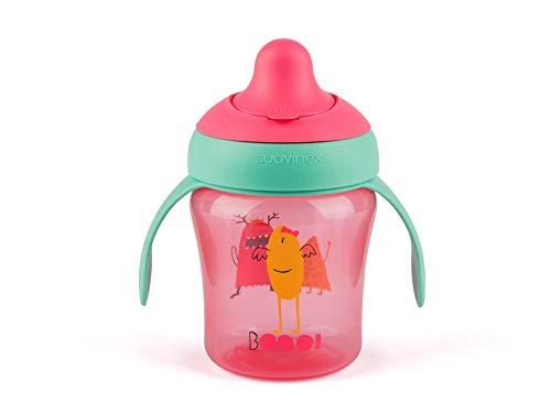 Suavinex - Vaso Aprendizaje Bebé BOOO. Con Boquilla Rígida y Asas Removibles. Para Bebés +6 Meses. Apto Para Lavavajillas. 200ml, Color Rosa
