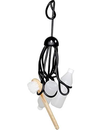 Formverket Octopus Shampoohalter, Duschgelhalter ohne Bohren, Oktopus zum Hängen mit 9 verstellbaren Schlaufen aus Latex, schwarz
