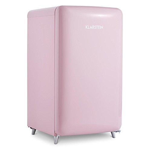 Klarstein PopArt Pink - koelkast, vriezer, retro-look van de jaren 50, 108 liter volume, 13 liter vriezer, groentevak, 2 x planken, flessenvak, eierrek, deurscharnier rechts, roze