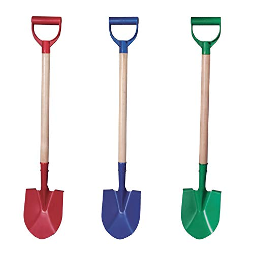 Beachgoer 32-Inch Metal Heavy Duty Beach Kids Wood Sand Shovels with Plastic Handle - 3 Color Pack Red Blue Green Sand Toys
