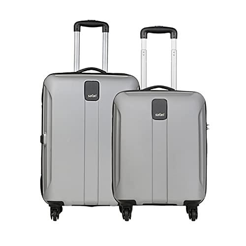 Safari Thorium Sharp Anti-Scratch Polycarbonate Small and Medium Check-in 4 Wheel Hard Suitcase (Silver) -Combo Set of 2