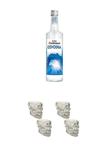 Echter Nordhäuser Eisvodka Deutschland 0,70 Liter + Wodka Totenkopf Shotglas 2 Stück + Wodka Totenkopf Shotglas 2 Stück