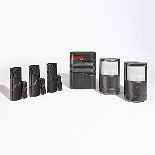 Sistema de alarma inalámbrico – Kit con 5 puntos de vigilancia (1 receptor de 110 dB + 2 sensores de movimiento + 3 sensores de apertura)