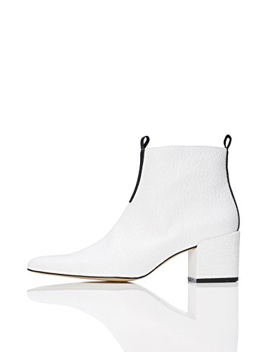 find. Damen Ankle Boots mit Blockabsatz, Weiß (White), 39 EU