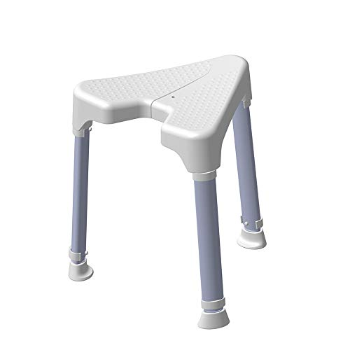 Dietz - Duschhocker TAYO dreieckig mit Hygieneausschnitt höhenverstellbar, rutschsicher, platzsparend