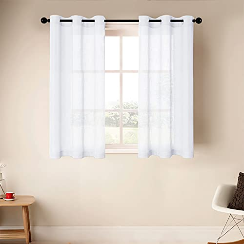 CUTEWIND Linen Textures White Sheer Curtains for Living Room/Bedroom 45 Inches Long Tier Curtain Panels Open Weave Grommet Top Window Treatment (2 Panels, White, W34×L45 Inches )