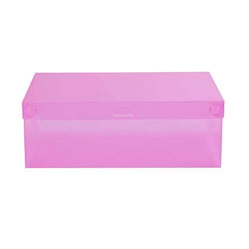 farawamu Shoes Box Transparent Dust-Proof Stackable Drawer Shoes Storage Box Container Organizer Pink