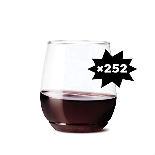 TOSSWARE 14oz Vino SET OF 252, Recyclable, Unbreakable & Crystal Clear Plastic Wine Glasses
