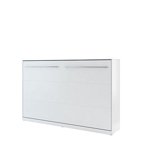 Mirjan24 Schrankbett Concept Pro II Horizontal, Wandklappbett inkl. Lattenrost, Bettschrank, Wandbett, Schrank mit integriertem Klappbett, Funktionsbett, Farbauswahl, (120x200 cm, Weiß)