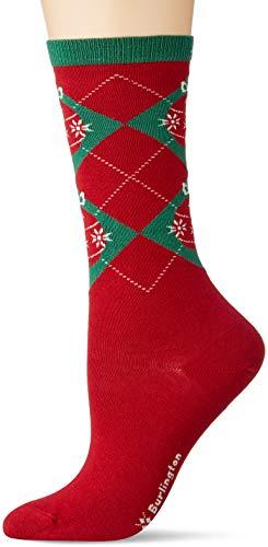 Burlington Damen Xmas Argyle Socken, rot (pomegranete red 8385), 36-41