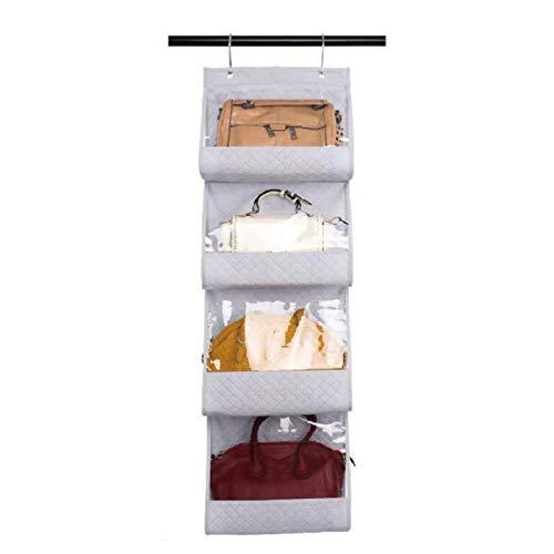 Honton Bolsa de almacenamiento de tela de lino de algodón con gancho, bolsa de almacenamiento montada en la pared, 123,5 x 37 cm, gris claro
