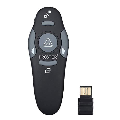 Proster 2,4G Schnurloser Presenter Power Point Fernbedienung Präsentation Presenter Maussteuerung mit rotem Laserpointer-für Windows Mac Linux-mit Tragetasche