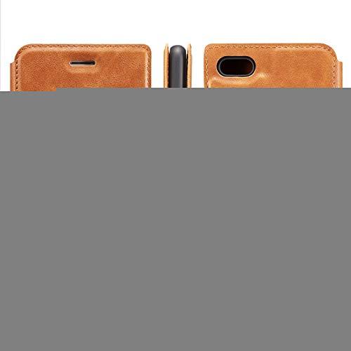 Protector de Pantalla para Xiaomi Redmi 6A Retro Simple de Cuero magnético Ultrafino con Soporte y Ranuras para Tarjetas y cordón, Zhongxianshangmaoyouxiangongsi (Color : Brown)