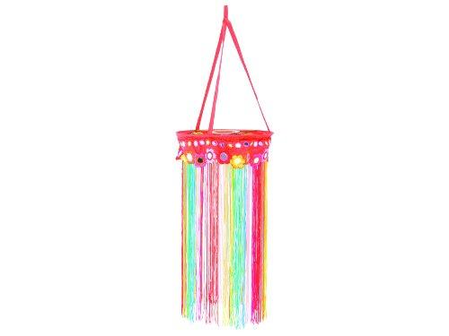 Unbekannt Papier- Lampenschirm Flowers, Stoffring mit bunten Fäden/Fransen, Maße: ca. 40 x 20 cm, Material: 100% Polyester, ohne Birnenfassung, Schirm für Hängelampe/Deckenlampe oder als Deko-Objekt