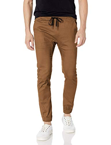 Brooklyn Athletics Men's Twill Jogger Pants Soft Stretch Slim Fit Trousers, Tobacco, Small