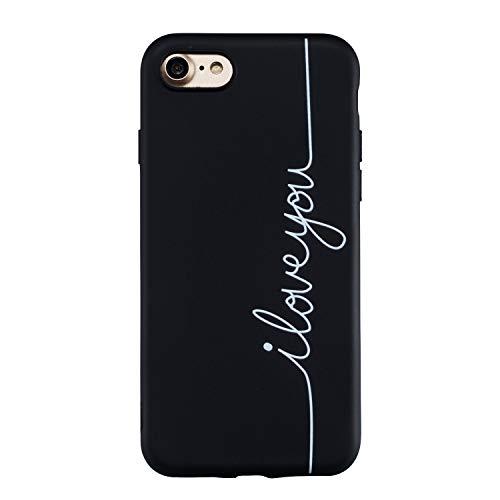 Ulife Mall Cover per iPhone 7   iPhone 8 Custodia in Silicone Nero Ultra Sottile TPU Gel Morbido Opaca Caso con Motivo Semplice Disegni Antiurto Flessibile Protettivo Gomma Bumper Case, I Love You