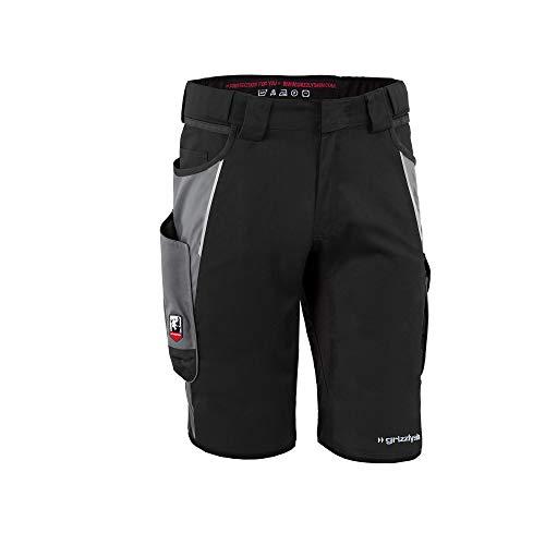 Grizzlyskin Arbeitsshorts Iron Schwarz/Grau N50 - Unisex Workwear Kurze Arbeitshose für Männer und Damen