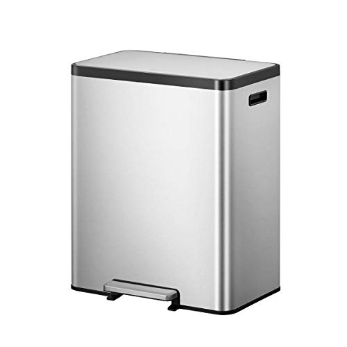 EKO EcoCasa II 36L+24L Dual Compartment Kitchen Recycle Trash Can, Stainless Steel Finish
