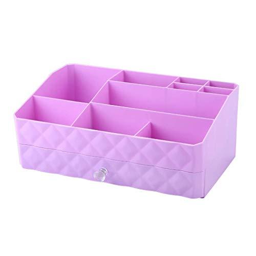 BOX Type de Tiroir Cosmétiques Boîte de Rangement En Plastique Créativité Bureau Lipstick Bijoux Soins de La Peau Produits de Stockage D'Affichage Boîte 30 × 18,5 × 12,5 Cm (Couleur: Violet),Violet