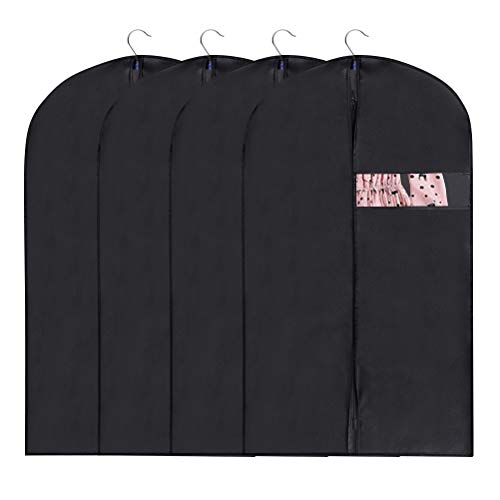 4PCS Suit Cover Bags Dress Cover Fabric Garment Covers Bags Moth Proof for Storage and Travel, 48 inch Hanging Clothes Storage Bags with Zips and Window Suit Protector Bag for Dress Suits Gowns Coats
