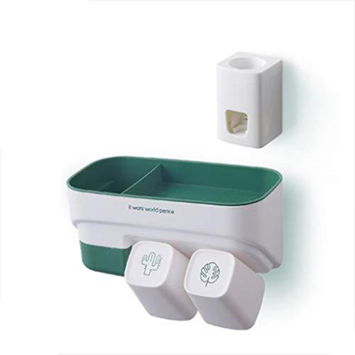 Queen Boutiques Automatische tandpasta dispenser Badtandenborstelstandaard aan de muur bevestigde mondborsteltandschalenschaaltandenborstelhouder