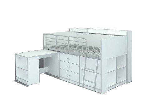 Cama nido con escritorio extraíble y múltiples espacios de almacenamiento