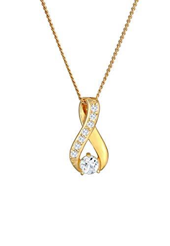 Elli PREMIUM Halskette Damen mit Anhänger Infinity Symbol Topas in 585 Gelbgold