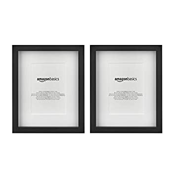 Amazon Basics 8  x 10  Photo Picture Frame or 5  x 7  with Mat - Black 2-Pack