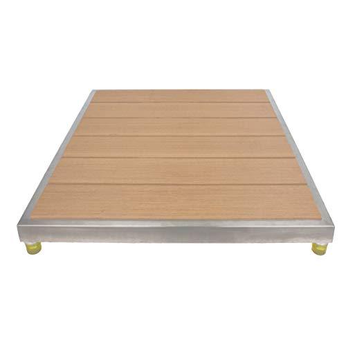 Elbe®Duschelement Outdoor-Bodenplatte aus WPC mit Edelstahlrahmen, Gummifuß-Erhöhung und rutschhemmender Oberfläche, optimale Bodenmatte Ergänzung für Ihre Gartendusche, Außendusche oder Pool etc.