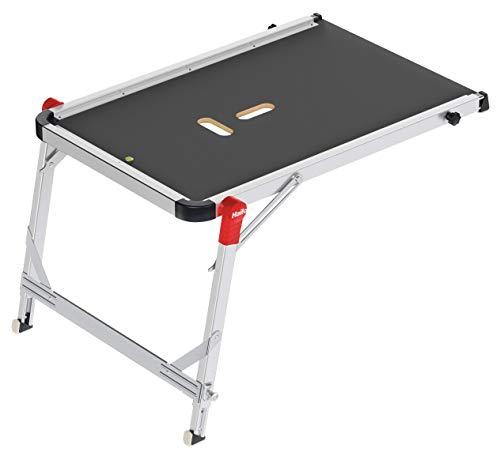 Hailo TP1 Treppenpodest   Arbeitsplattform aus rutschfester Siebdruckplatte mit Tragegriff und integrierter Libelle   Füße mit Soft-Grip-Sohle belastbar 150 kg   flexibel verstellbar   silber