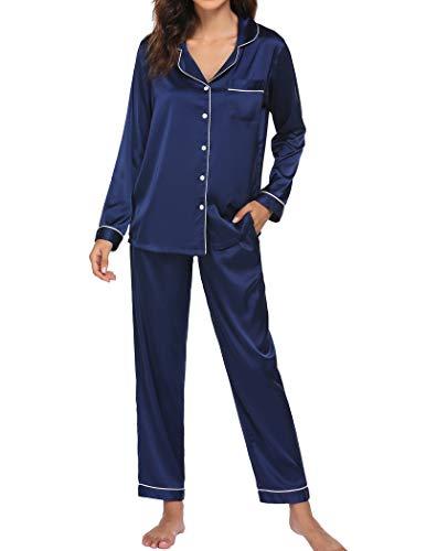 Ekouaer Sleep Set Women's Soft Sleepwear Silk Satin Pajamas Long Sleeve Two Piece Lounge Set (Navy,M)