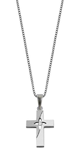 trendor Silber Kreuz Anhänger mit Kette Kreuz Kette Damen, Kreuz Anhänger Silber 925, elegante Geschenkidee, echter Silberschmuck, glitzernder Zirkonia 48849