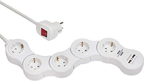 Brennenstuhl Vario Power Steckdosenleiste mit USB-Ladefunktion / Bewegliche Steckdosenleiste 5-fach (1,4m Kabel, mit Schalter und 2 USB Ladebuchsen) weiß