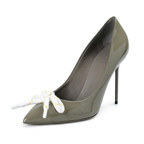 BURBERRY London Women's Finsbury Gray Patent Leather Pumps Shoes Sz US 7 IT 37