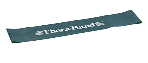 TheraBand Resistance Band Loop, Professional Latex Mini Band, Lower Pilates, Crossfit, Yoga, Stretching, Physical Therapy, Strength Training without Weights, 8 Inch, Green, Heavy, Intermediate Level 1