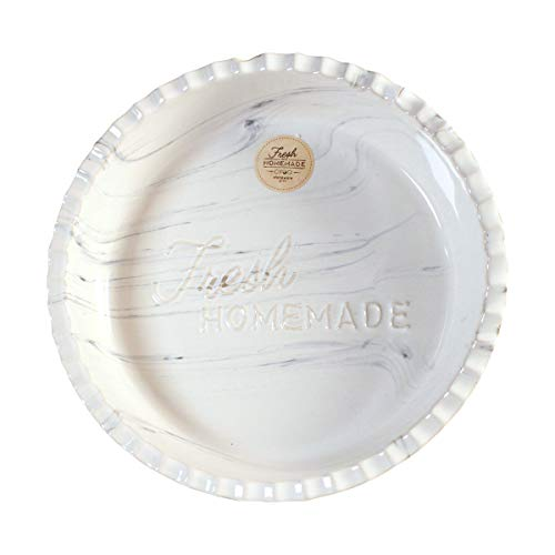 Marble 9 Inch Pie Dish by CIROA | Ceramic White Porcelain Deep Pie Pan for Baking Large Family Size