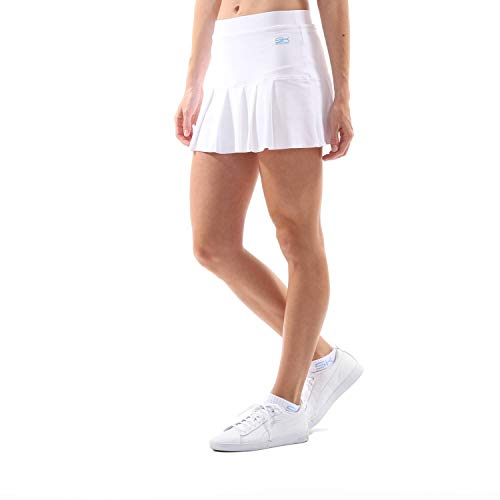 Sportkind Mädchen & Damen Tennis, Hockey, Golf Faltenrock mit Innenhose, atmungsaktiver Skort, UV-Schutz, Weiss, Gr. 140