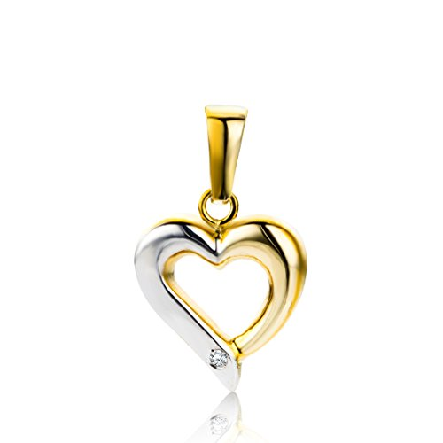 Miore Anhänger mit Herz Bicolor Gelbgold / Weißgold 9 Karat / 375 Gold Diamant Brilliant