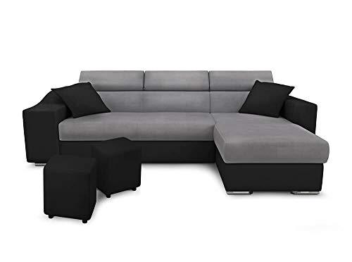 Canapé d'angle 2 places Noir Microfibre Grand