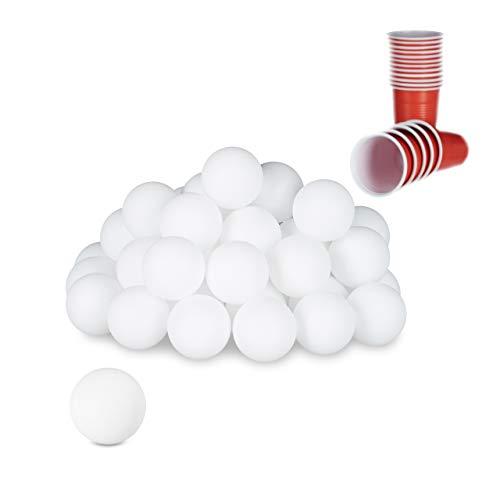 Relaxdays Pelotas Ping Pong, Beerpong Bolas, 48 Unidades, Juego para Fiestas, Lisas y Vacías, 38 mm, Plástico, Blanco