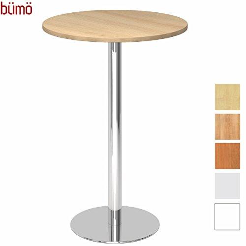 Bümö® statafel met chroomzuil | bartafel | hoogwaardige bistrotafel | zuiltafel in 2 vormen en 7 decors Platte: rund-Ø 80cm eiken
