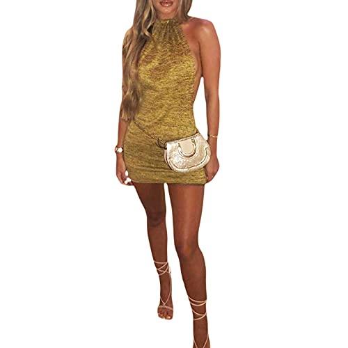 Vestido de Punto Verano Mujer Vestido de Playa Delgado sin Manga Espalda Abierta Hombro Descubierto Vestido de Tirantes Sexy Casual Pareo Niña Mujer (Oro, S)