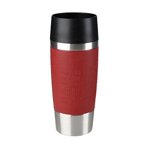 Emsa 513356 Travel Mug Classic Thermo-/Isolierbecher, Fassungsvermögen: 360 ml, hält 4h heiß/ 8h kalt, 100% dicht, auslaufsicher, Quick-Press-Verschluss, 360°-Trinköffnung, rot