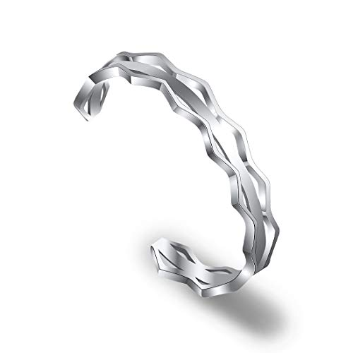 Zuo Bao Grooved Hair Tie Bracelet Stainless Steel Hollow Groove Cuff Bracelets Rubber Band Holder Bangle for Women (Silver)