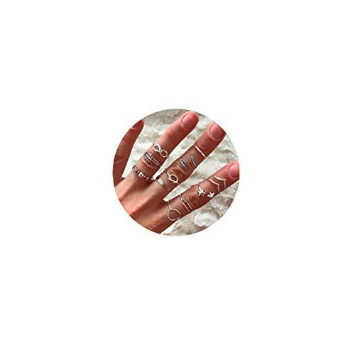 12pcs Silver Star InfinIty Love Knot Leaf Cute Knuckle Ring Sets for Women Teen Girls Vintage Boho Stackable Finger Rings Pack for Men