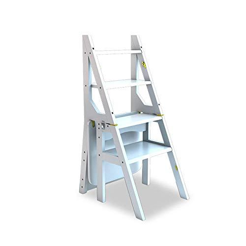 4 Peldaños Multifunción Taburete Plegable Hogar Madera Maciza Silla Escalera De Escalada Interior Estante Carga,150Gk,Pino Blanco