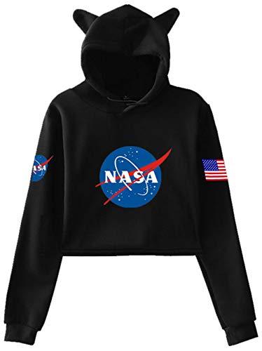 Haosheng Donna NASA Crop Top Maniche Lunghe Ragazza Felpa personalità Orecchie di Gatto Moda Casual Felpa(M)