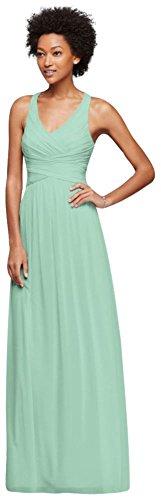 David's Bridal Mesh Long Bridesmaid Dress with Crisscross Back Style W10974, Mint, 4
