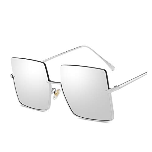 Gafas de sol de metal semitransparentes para mujer, retro, grandes, cuadradas, para hombre, a la moda, con marco de metal, para calle, UV, color plateado, blanco y plateado